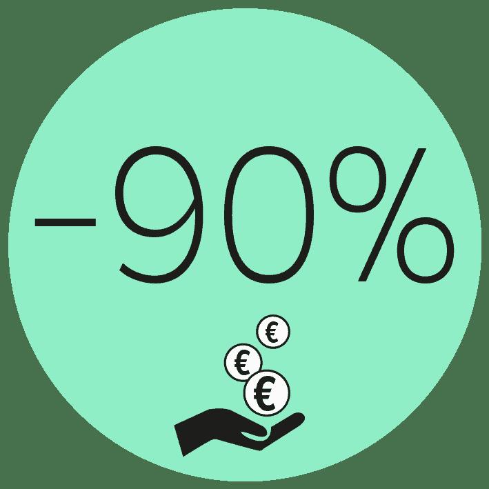 Kosteneinsparungen bis zu 90%